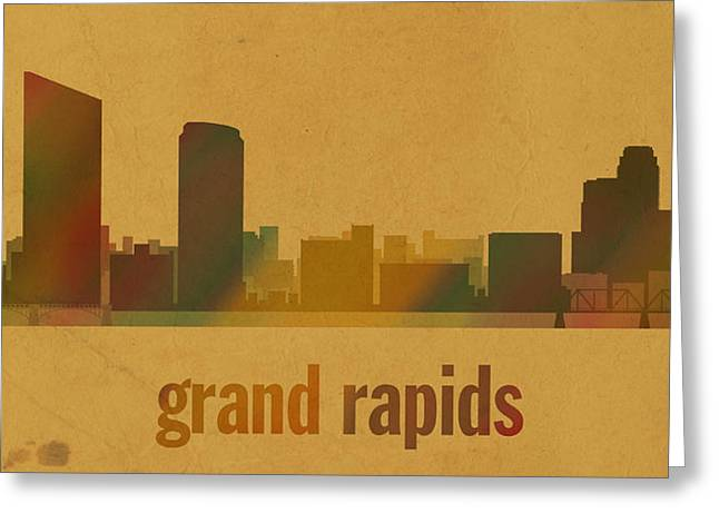 Rapids Mixed Media Greeting Cards - Grand Rapids Michigan City Skyline Watercolor On Parchment Greeting Card by Design Turnpike