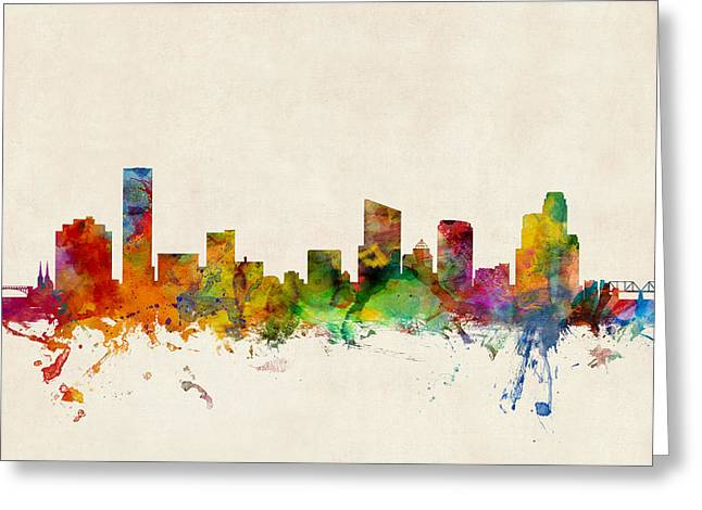 States Greeting Cards - Grand Rapids Michigan Skyline Greeting Card by Michael Tompsett