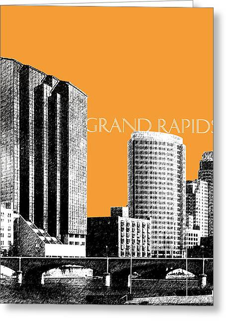 Pen And Ink Greeting Cards - Grand Rapids Skyline - Orange Greeting Card by DB Artist