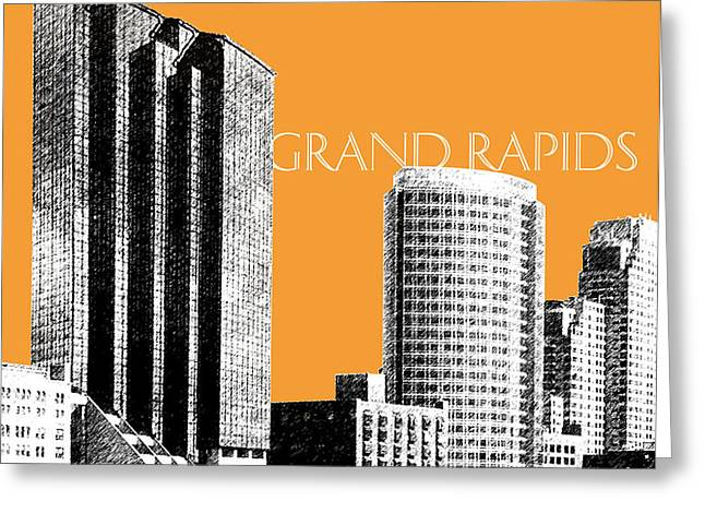 Grand Rapids Skyline - Orange Greeting Card by DB Artist