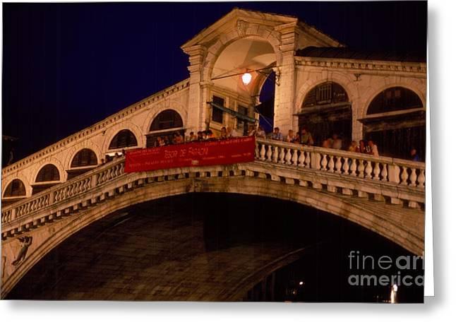 Gran Canal Greeting Cards - Grand Rialto at Night - Venezia - Italy Greeting Card by Anna Lisa Yoder