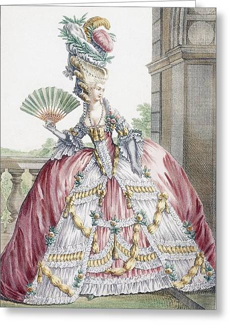 Ball Gown Greeting Cards - Grand Robe A La Francais, Engraved Greeting Card by Claude Louis Desrais