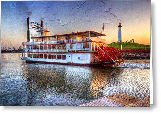 Paddle Wheel Greeting Cards - Grand Romance Riverboat Greeting Card by Heidi Smith