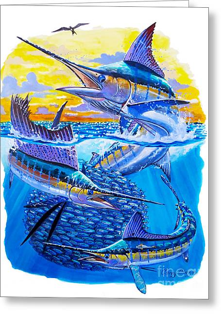 Fishing Rods Greeting Cards - Grand Slam baitball Greeting Card by Carey Chen