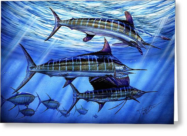 Marlin Greeting Cards - Grand Slam Lure And Tuna Greeting Card by Terry Fox