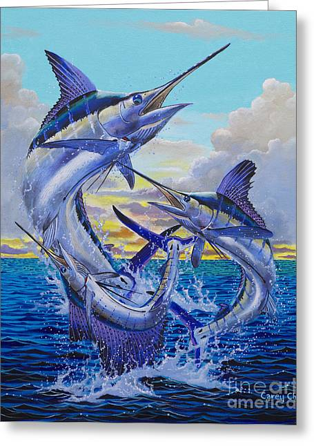 Striped Marlin Greeting Cards - Grand Slam Off0016 Greeting Card by Carey Chen