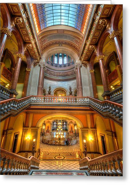 State Capitol Greeting Cards - Grand Staircase Illinois State Capitol Greeting Card by Steve Gadomski