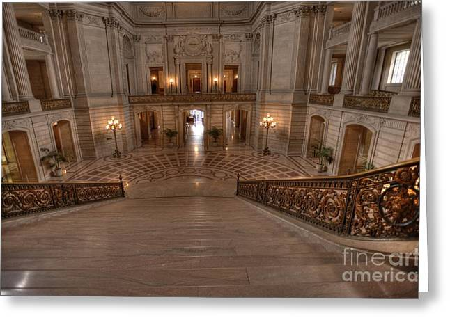 City Hall Greeting Cards - Grand Staircase S F City Hall Greeting Card by David Bearden