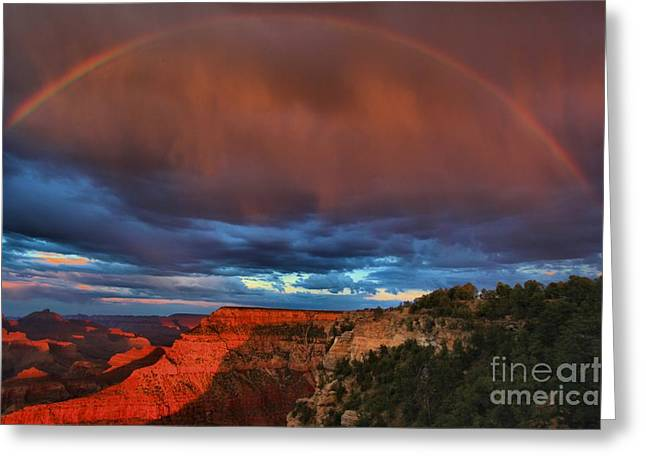 The Grand Canyon Greeting Cards - Grand Sunset Rainbow Greeting Card by Adam Jewell
