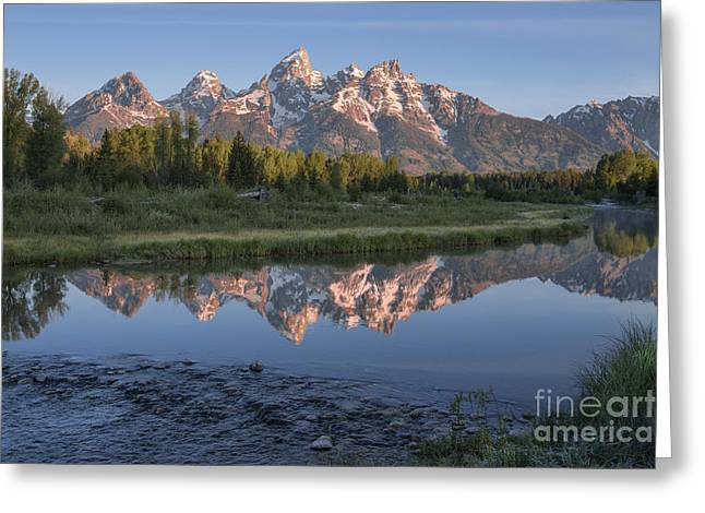 Mirror Reflection Greeting Cards - Grand Teton Awakening Greeting Card by Sandra Bronstein