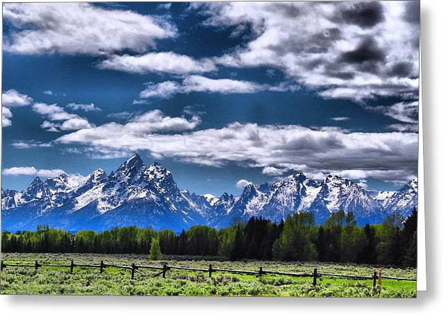Mountains With Snow Greeting Cards - Grand Teton Fence Greeting Card by Dan Sproul