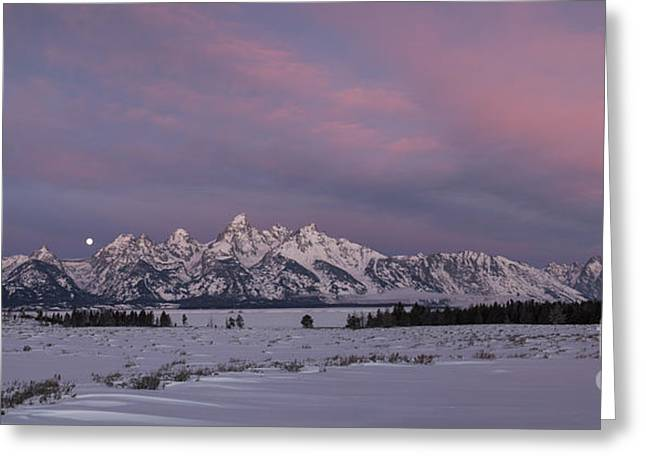 Moon Set Digital Art Greeting Cards - Grand Teton Moonset Greeting Card by Sandra Bronstein