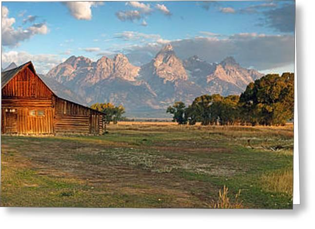 Sheds Greeting Cards - Grand Teton Panorama Greeting Card by Nicholas Blackwell