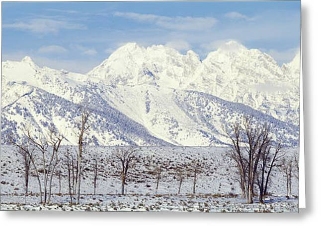 Wyoming Photography Greeting Cards - Grand Teton Range In Winter, Wyoming Greeting Card by Panoramic Images