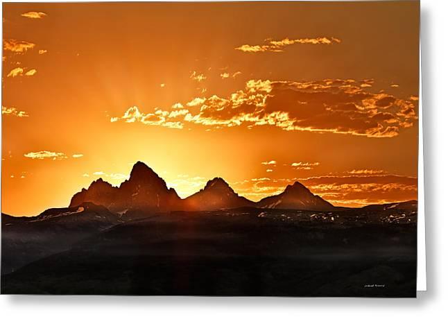 Grand Teton Sunrise Greeting Card by Leland D Howard