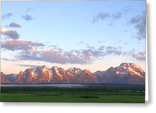 Rocky Mountain National Park Posters Greeting Cards - Grand Teton Sunrise Panorama Greeting Card by Brian Harig