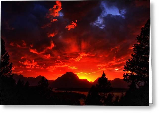 Moran Greeting Cards - Grand Teton Sunset Greeting Card by Aidan Moran