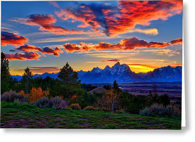 Signed Prints Greeting Cards - Grand Teton Sunset Greeting Card by Greg Norrell