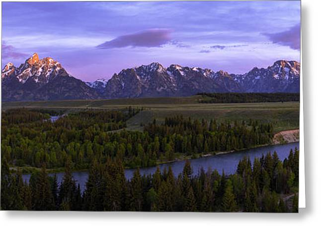 Sunrise. Water Greeting Cards - Grand Tetons Greeting Card by Chad Dutson