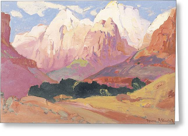 The Grand Canyon Paintings Greeting Cards - Grand Tetons Greeting Card by Franz A Bischoff