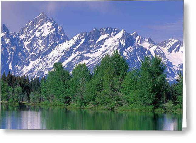 Snow Capped Greeting Cards - Grand Tetons National Park Wy Greeting Card by Panoramic Images