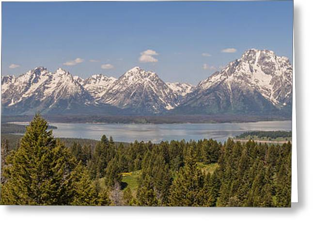 Breathtaking Greeting Cards - Grand Tetons Over Jackson Lake Panorama Greeting Card by Brian Harig