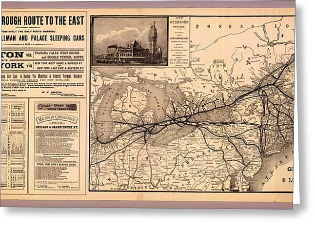 1880s Drawings Greeting Cards - Grand Trunk Railway Map 1887 Greeting Card by Mountain Dreams
