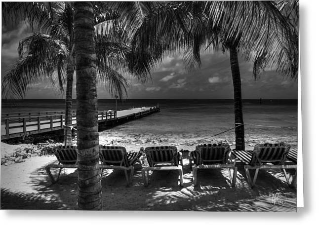 Chaise Lounges Greeting Cards - Grand Turk Vacation 001 BW Greeting Card by Lance Vaughn