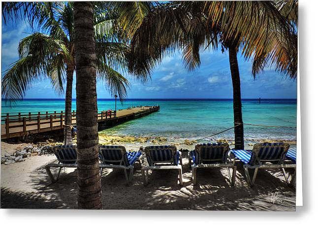 Chaise-lounge Greeting Cards - Grand Turk Vacation 001 Greeting Card by Lance Vaughn
