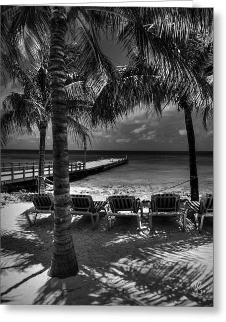 Chaise Lounges Greeting Cards - Grand Turk Vacation 002 BW Greeting Card by Lance Vaughn