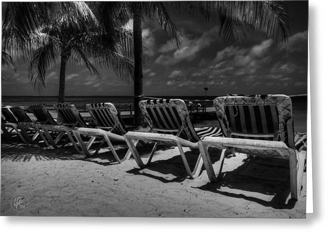 Chaise Lounges Greeting Cards - Grand Turk Vacation 003 BW Greeting Card by Lance Vaughn