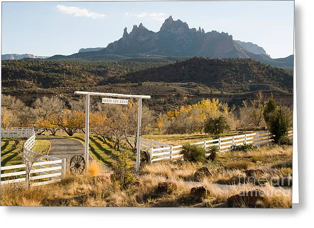 Geobob Greeting Cards - Grand View Ranch and Eagle Crags Springdale Utah Greeting Card by Robert Ford