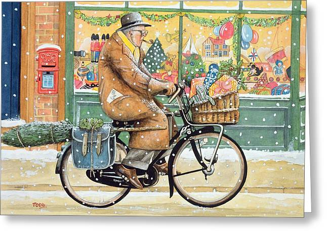 Shop Window Greeting Cards - Grandad Is Coming For Christmas Wc Greeting Card by Tony Todd