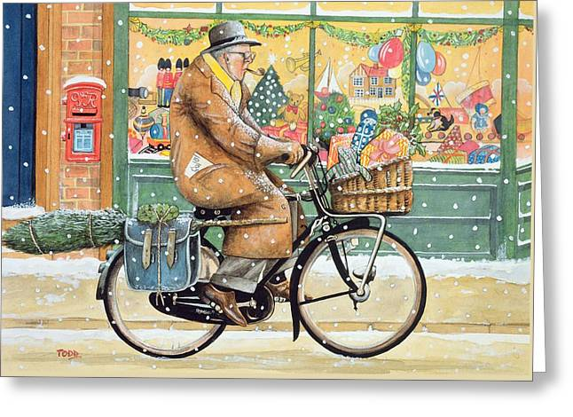 Grandad Is Coming For Christmas Greeting Card by Tony Todd
