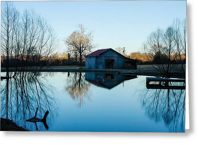 Reflections Of Sky In Water Greeting Cards - Grandaddy Guy Bos Barn Greeting Card by Robert Hebert