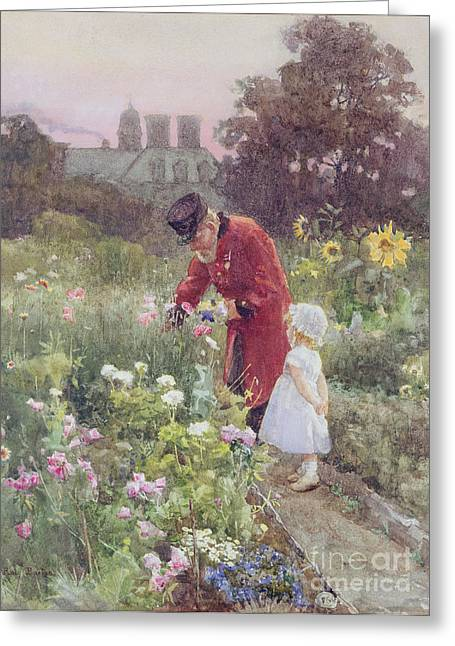 Innocence Paintings Greeting Cards - Grandads Garden Greeting Card by Rose Maynard Barton