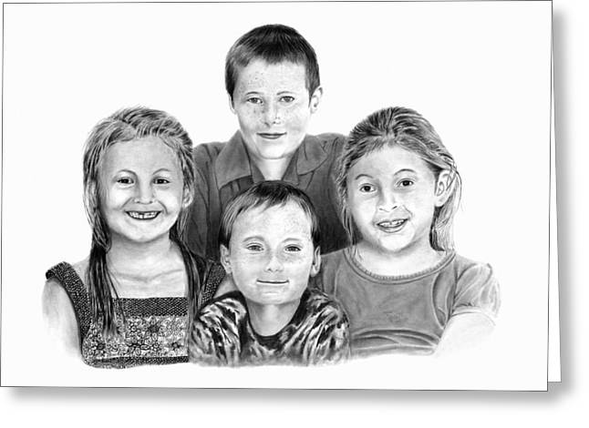 Missing Teeth Greeting Cards - Grandchildren Portrait Greeting Card by Peter Piatt