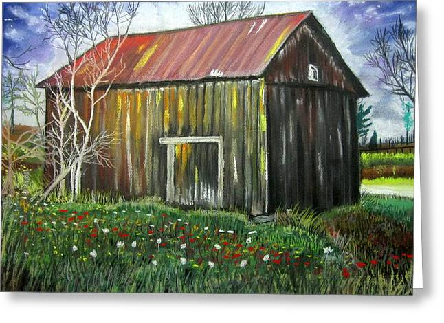 Old Barn Pastels Greeting Cards - Granddaddys Shed Greeting Card by Mike Benton