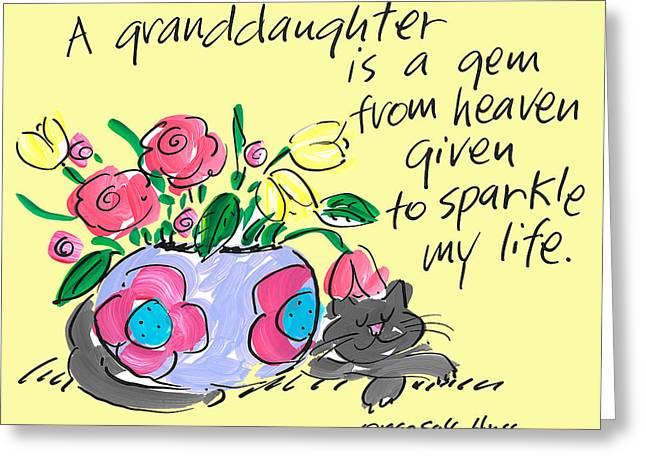 Vase Of Flowers Drawings Greeting Cards - Granddaughter Gem Greeting Card by Sally Huss