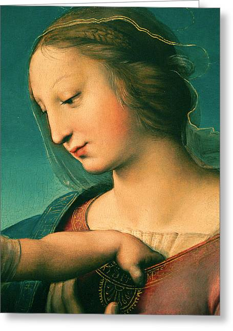 1506 Greeting Cards - Grande Madonna Cowper .Detail Greeting Card by Raphael