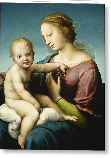 1506 Greeting Cards - Grande Madonna Cowper  Greeting Card by Raphael