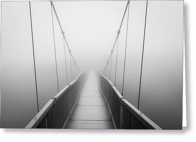Creepy Greeting Cards - Grandfather Mountain Heavy Fog - Bridge to Nowhere Greeting Card by Dave Allen
