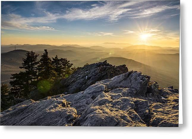 Western North Carolina Greeting Cards - Grandfather Mountain Sunset Blue Ridge Parkway Western NC Greeting Card by Dave Allen