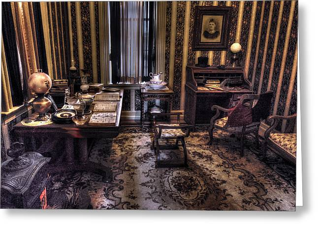Grandfather's Office Greeting Card by William Fields