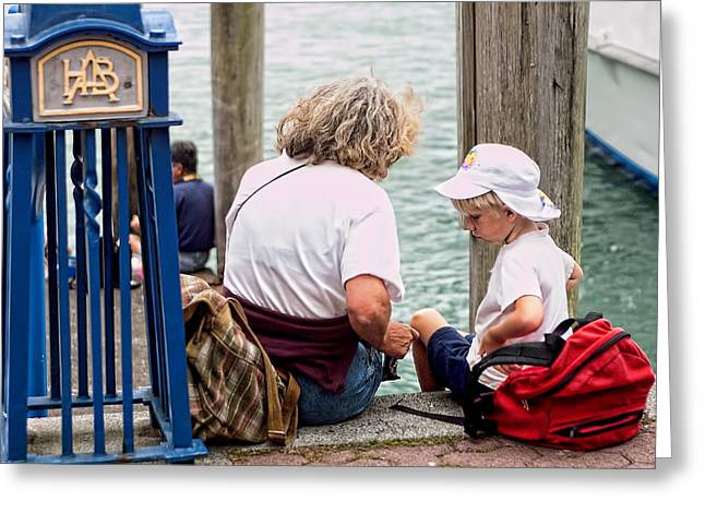 Metal Pier Greeting Cards - Grandma and Me at the Pier Greeting Card by Linda Phelps