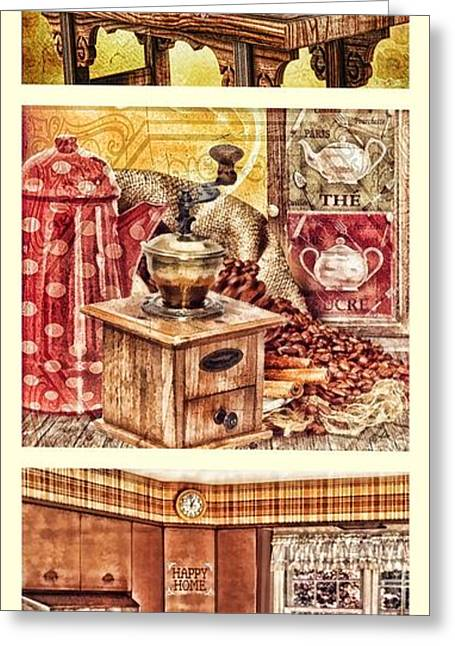 Canned Fruit Greeting Cards - Grandma Kitchen Triptic Greeting Card by Mo T