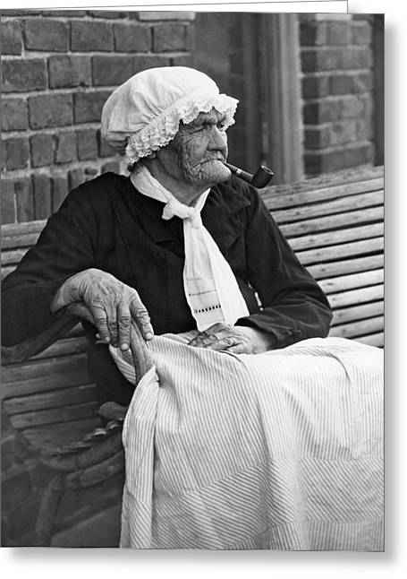 Grandma Smokes Pipe At Age 92 Greeting Card by Underwood Archives
