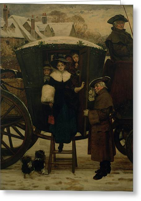 Carriages Greeting Cards - Grandmamas Christmas Visitors Greeting Card by George Adolphus Storey