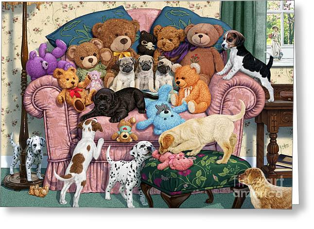 Toy Dogs Digital Art Greeting Cards - Grandmas Armchair Greeting Card by Steve Read