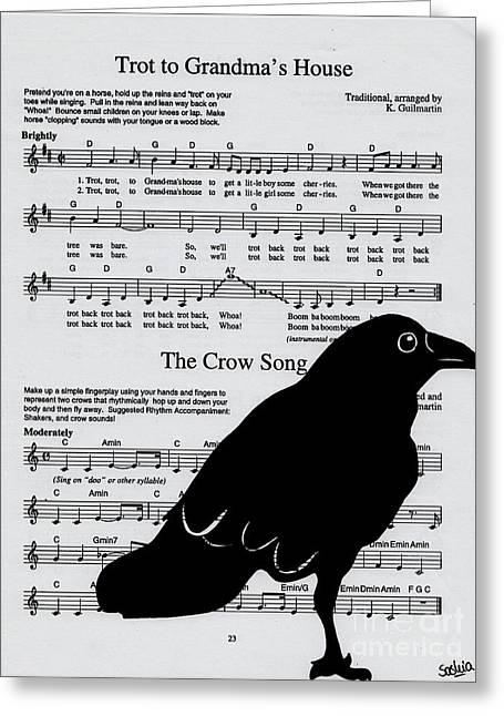 Crow. Bird Music Greeting Cards - Grandmas Crow Song Greeting Card by Saskia Dinh